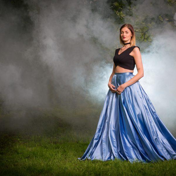 Blue dress and smoke