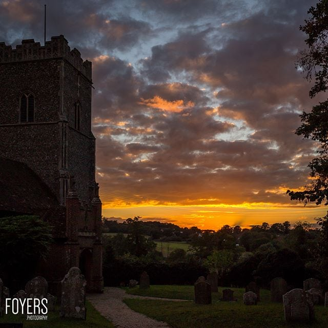 Sunset at St Mary's church Great Bealings Suffolk